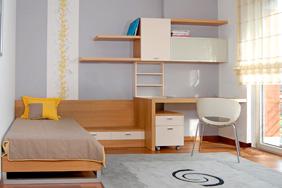 University Bedroom - Beech White Laminate