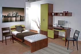 University Bedroom - Walnut Lime Laminate