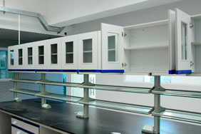Laboratory Furniture - White cabinets with integrated shelving