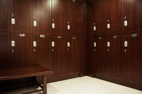 Bespoke Joinery - University Lockers Dark Wood