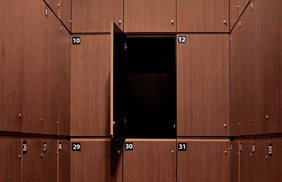 University Lockers - Dark Wood Finish