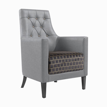 Reagan grey lounge chair deep button backrest with fully upholstered arms and back