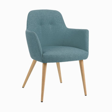 Bopp duck egg tub chair with conical light wood splayed legs