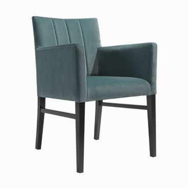 Sage fabric tub chair with upright backrest and dark timber legs