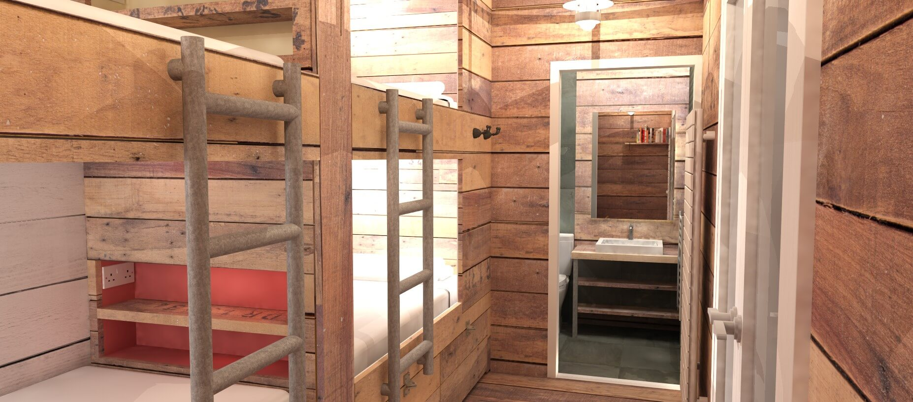 Student Accommodation Bunk Beds with Ladders