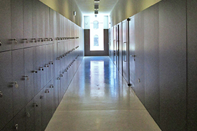 University Lockers - dark-blue-corridor-lockers