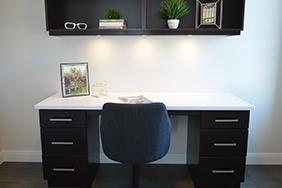 University Bedroom - stylish-dark-wooden-student-accommodation-desk-and-shelf
