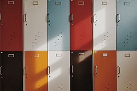 University Lockers - wooden-coloured-lockers-with-handles