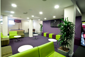 University Breakout - Purple Green Cube Seating