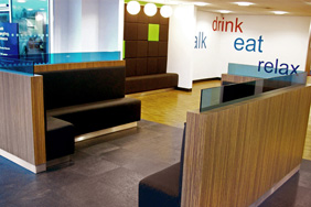 University Reception - Walnut Laminate Metal Trim