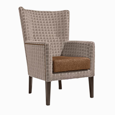 Garcia orange armchair with high back and subtle wing design