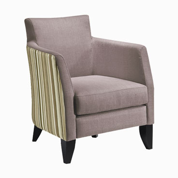 Larrie beige tub chair with stripped fabric and tapered legs