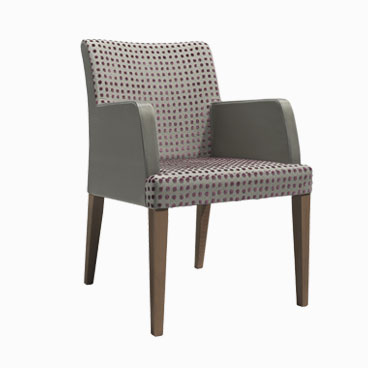 Darwin grey leather tub chair with wooden legs and armrests
