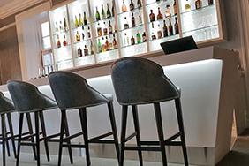 Bespoke University Bar - white-angular-bar-counter