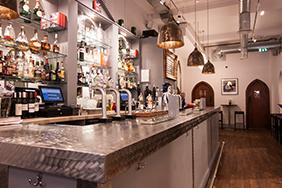 Bespoke University Bar - brushed-stainless-steel-bar-counter-birmingham