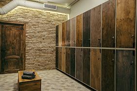 University Lockers - rustic-wooden-locker-room